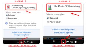 Mengatasi Tanda Silang Berkedip di Baterai Laptop